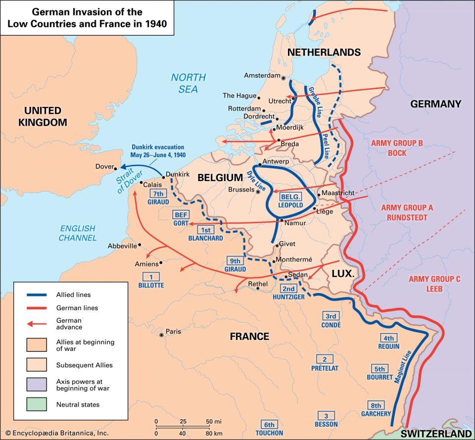mappa campagna di Francia 1940, mappa seconda guerra mondiale