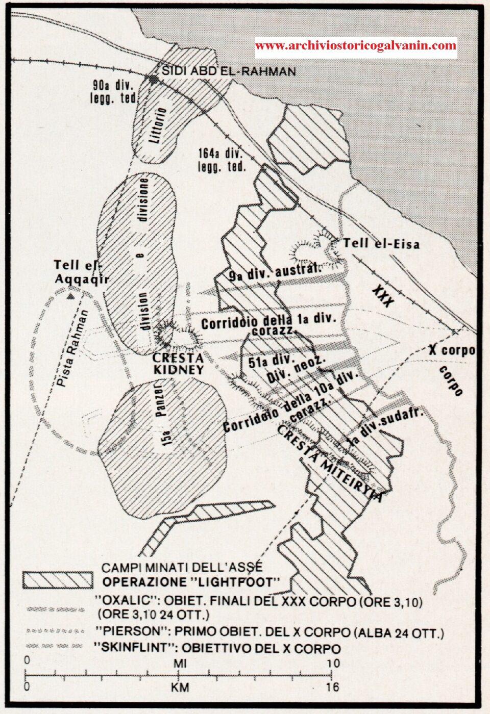 El Alamein 1942 posizioni mappa, operazione lightfoot, Tell el aqqaqllr, Cresta Kidney, 15 panzer divisioni El Alamein, divisione littorio El Alamein, 1 divsione corazzata, Cresta Miteirym, Tell el Eisa, 9 divisione australiana, 51 divisione neozelandese, 1 divisione sud africana