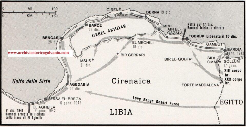 Operazione crusander libia 1941, avanzata inglese cirenaica, Sollum, Bardia, Gambut, Tobruk, Ain el Gazala, Tmimi, Derna, Gebel, Cirene, Barce, Bengasi, Msus, El Mechili, Bir Gerrari, Agedabia, Marsa el Berga, El Agheila, Cirenaica 1941,mappa operazioni libia