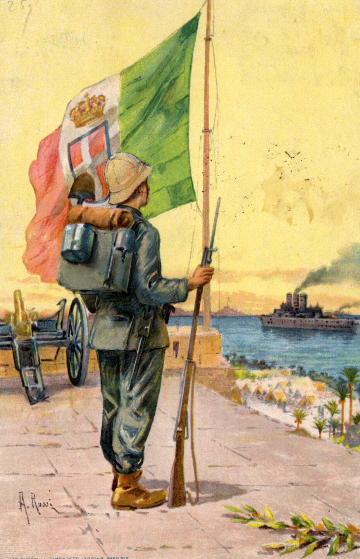 Cartolina propaganda, tripoli italiana, soldato coloniale, colonialismo italiano riassunto, bandiera italiana storia, Libia, carcano 91, navi italiane prima guerra mondiale
